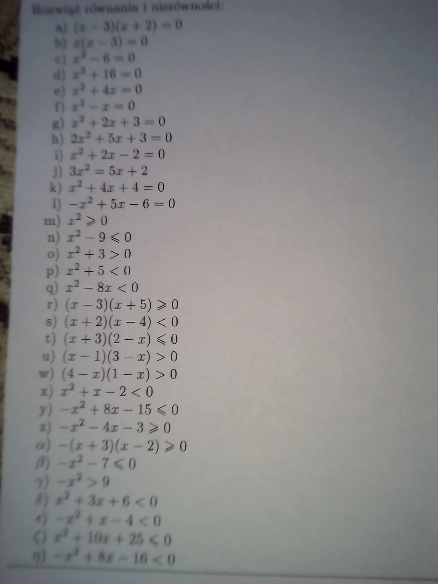 równania i nierówności kwadratowe zadania